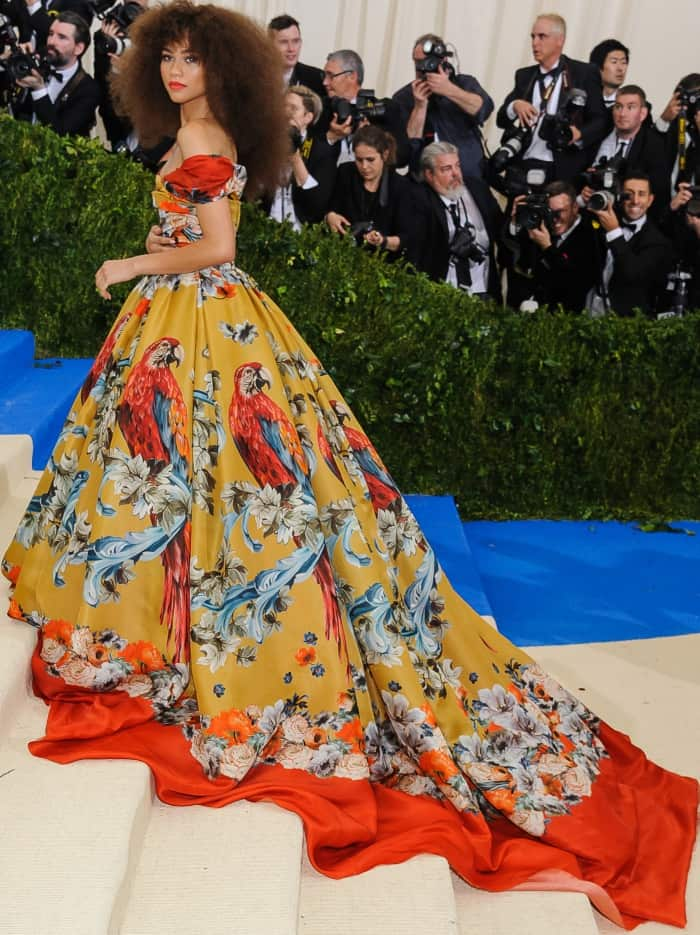 Zendaya wearing a Dolce & Gabbana Alta Moda Fall 2015 couture gown at the 2017 Met Gala