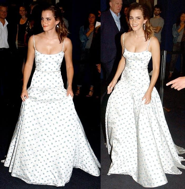 Emma Watson attended the premiere of 'The Circle' at UGC Normandie in Paris wearing a beautiful floral gown.