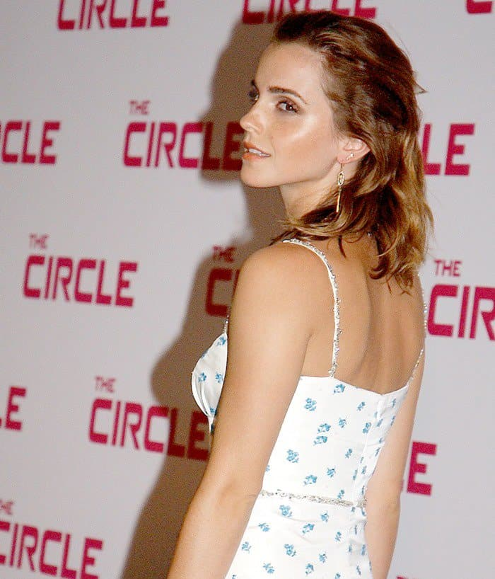 Bead embellishments on the spaghetti strap and waist add a touch of shimmer to Emma Watson's gown.