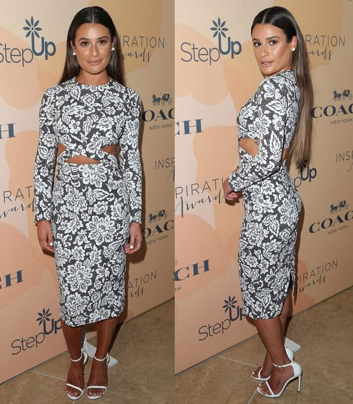 Lea Michele was dressed in a form-fitting Michael Kors dress that showed off her super toned figure