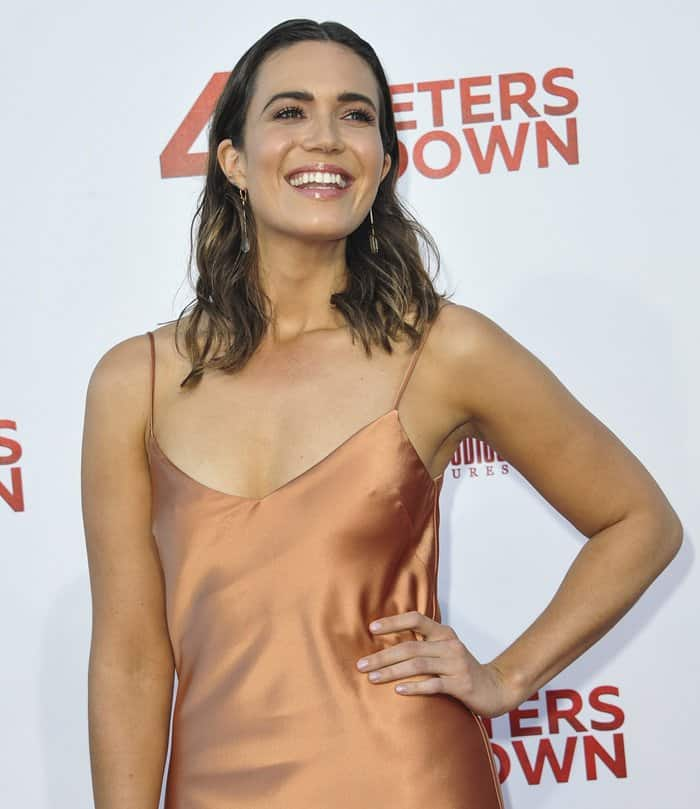 Mandy Moore donned a sexy Galvan London slip dress with a stunning metallic bronze color