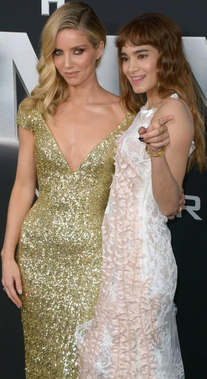 Annabelle Wallis in Giorgio Armani and Sofia Boutella in Rodarte at the New York premiere of 'The Mummy'