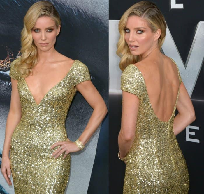 "Annabelle Wallis wearing a custom gold Giorgio Armani gown at the New York premiere of ""The Mummy"""