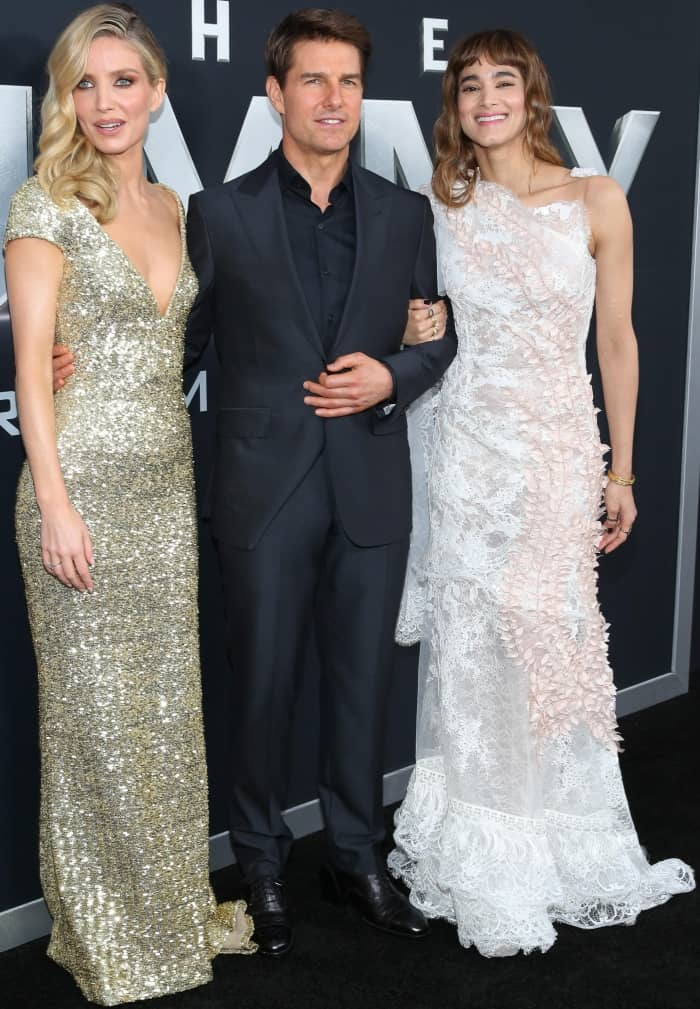 "Tom Cruise with Annabelle Wallis and Sofia Boutella at the New York premiere of ""The Mummy"""