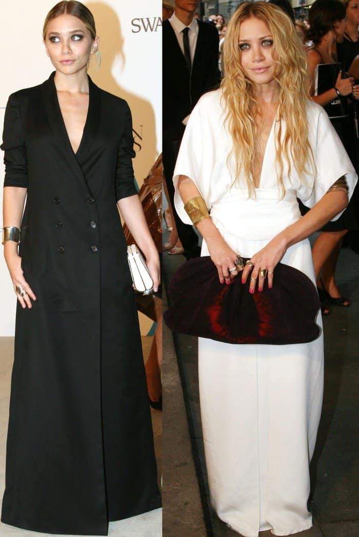 Ashley and Mary-Kate Olsen wearing monochromatic ensembles at the 2007 CFDA Fashion Awards