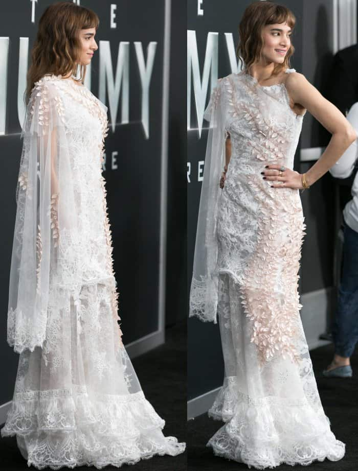 "Sofia Boutella wearing a white Rodarte gown at the New York premiere of ""The Mummy"""