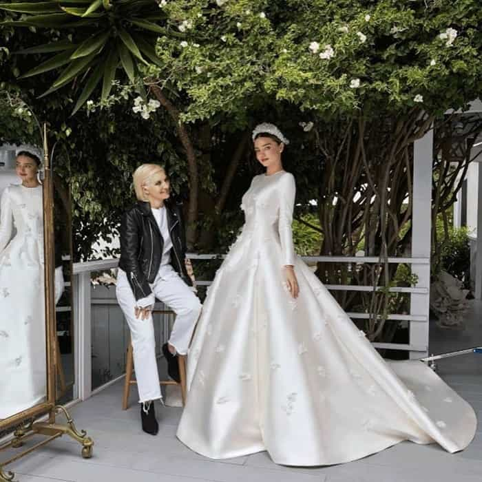 Image shared by Miranda with the caption 'Thank you Maria Grazia Chiuri and @dior for creating my dream wedding dress'