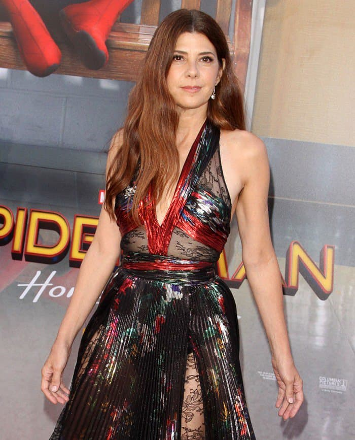 Marisa Tomei wore a Zuhair Murad gown with super high slits at the LA premiere of the Spiderman: Homecoming movie.