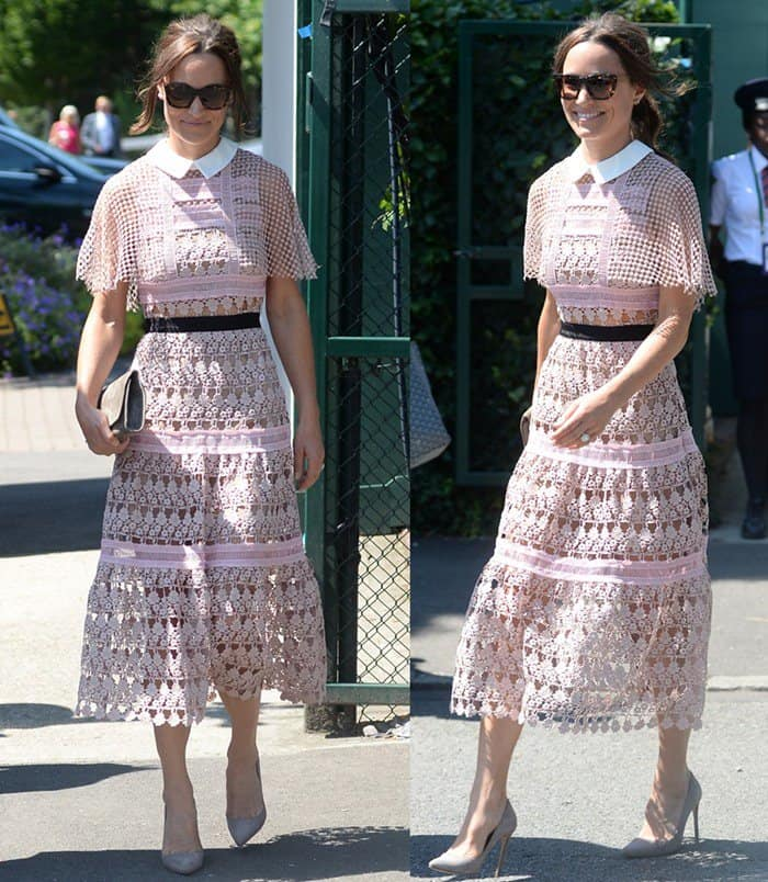 Pippa Middleton on Day 3 of the Wimbledon Championships in London on July 5, 2017