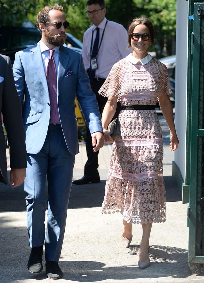 Pippa Middleton with brother James Middleton during Day 3 of Wimbledon in London.