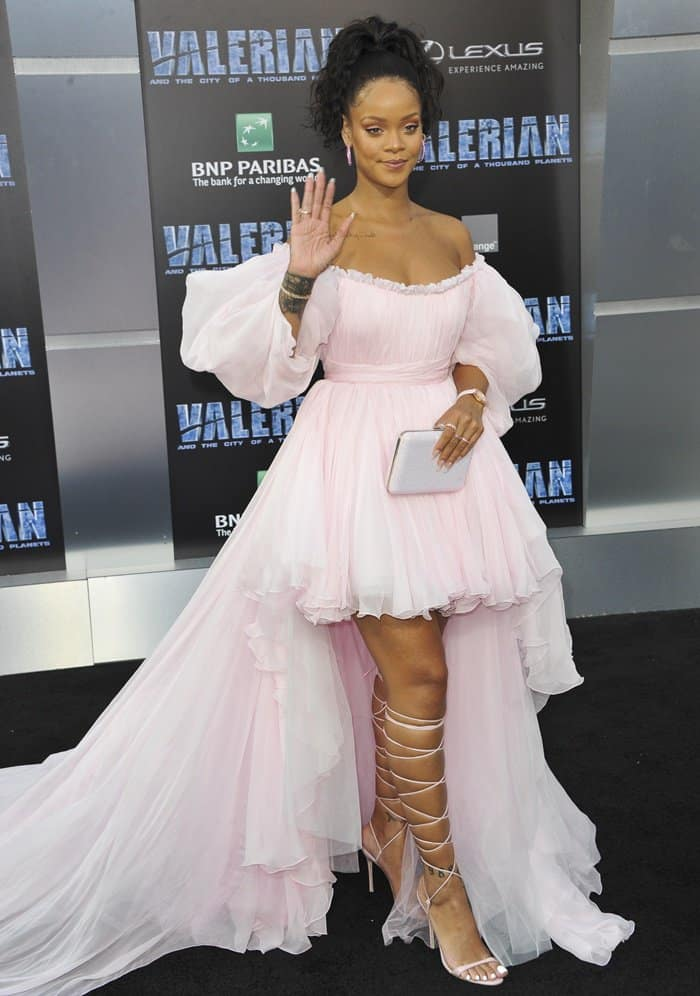 Rihanna attended the Valerian premiere in a couture gown and Manolo Blahnik lace-up heels.