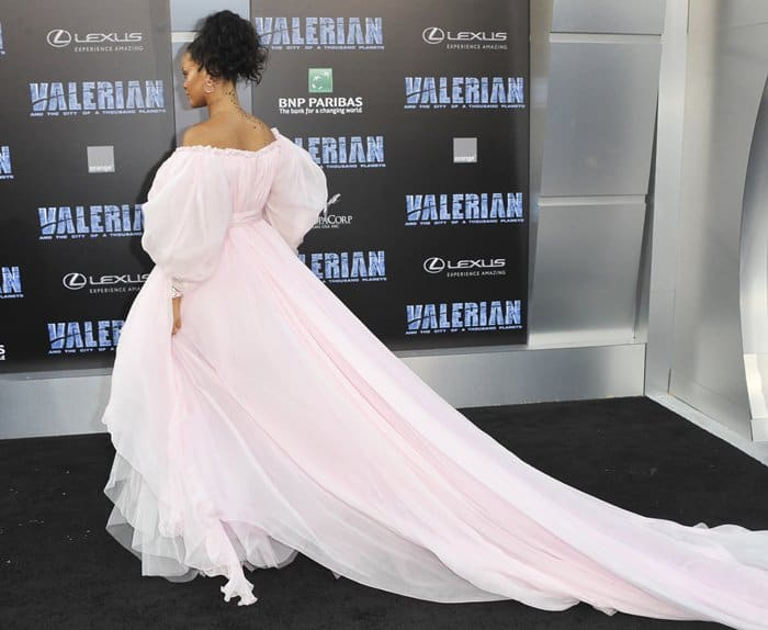 Rihanna wearing a fluffy pink Giambattista Valli couture dress at TCL Chinese Theater.