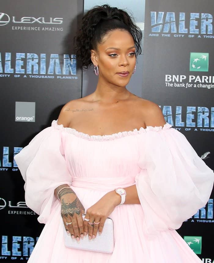 Rihanna wore a fluffy pink Giambattista Vallie Couture gown at the world premiere of Valerian.