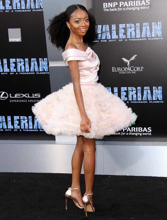Skai Jackson wearing a Marchesa Notte dress at the world premiere of Valerian.