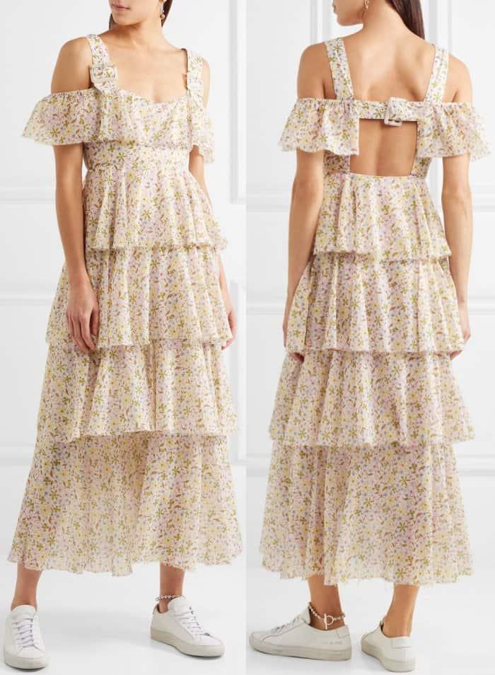 AlexaChung cold-shoulder tiered floral-print cotton-voile dress
