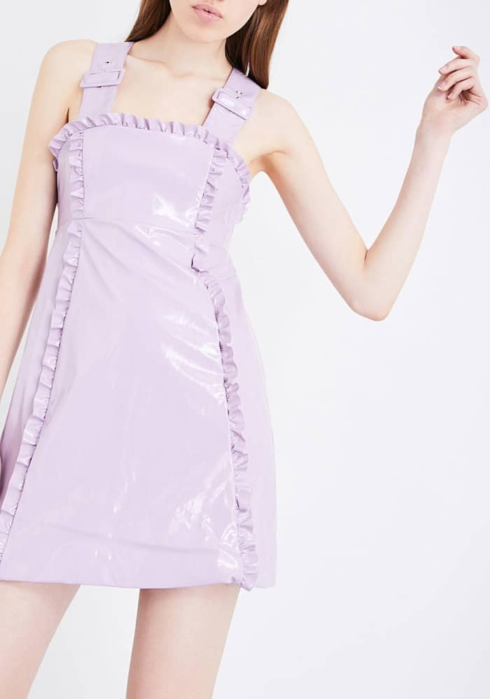 AlexaChung frill-trimmed faux-patent dress in lilac
