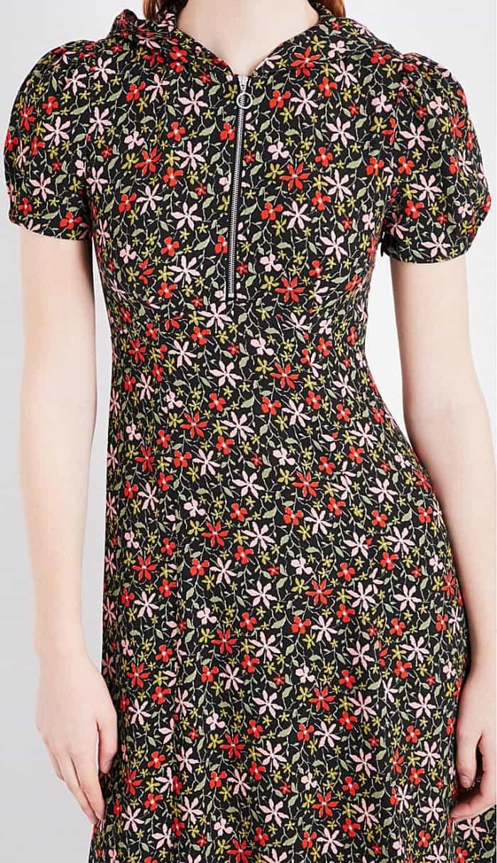 AlexaChung hooded crepe midi dress