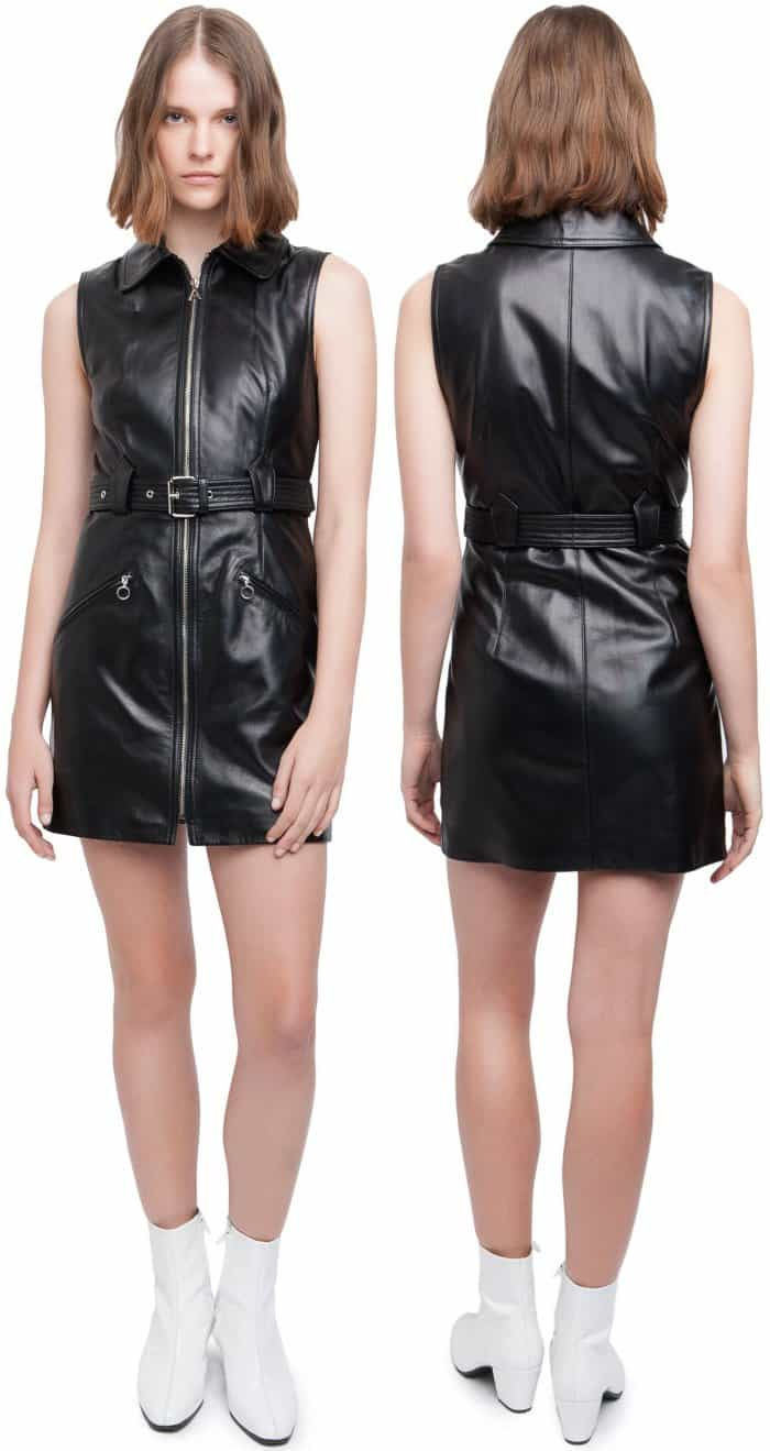AlexaChung leather motorcycle dress