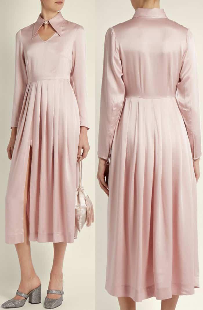 AlexaChung point-collar satin midi dress
