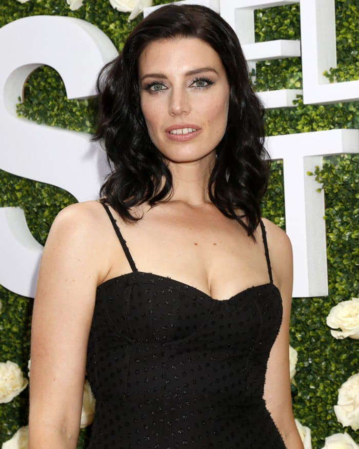 Jessica Paré wearing a Sally LaPointe Resort 2018 Swiss dot jumpsuit at the the 2017 Summer TCA Tour – CBS Television Studios' Summer Soiree held at the CBS Studios – Radford in Studio City, California, on August 1, 2017