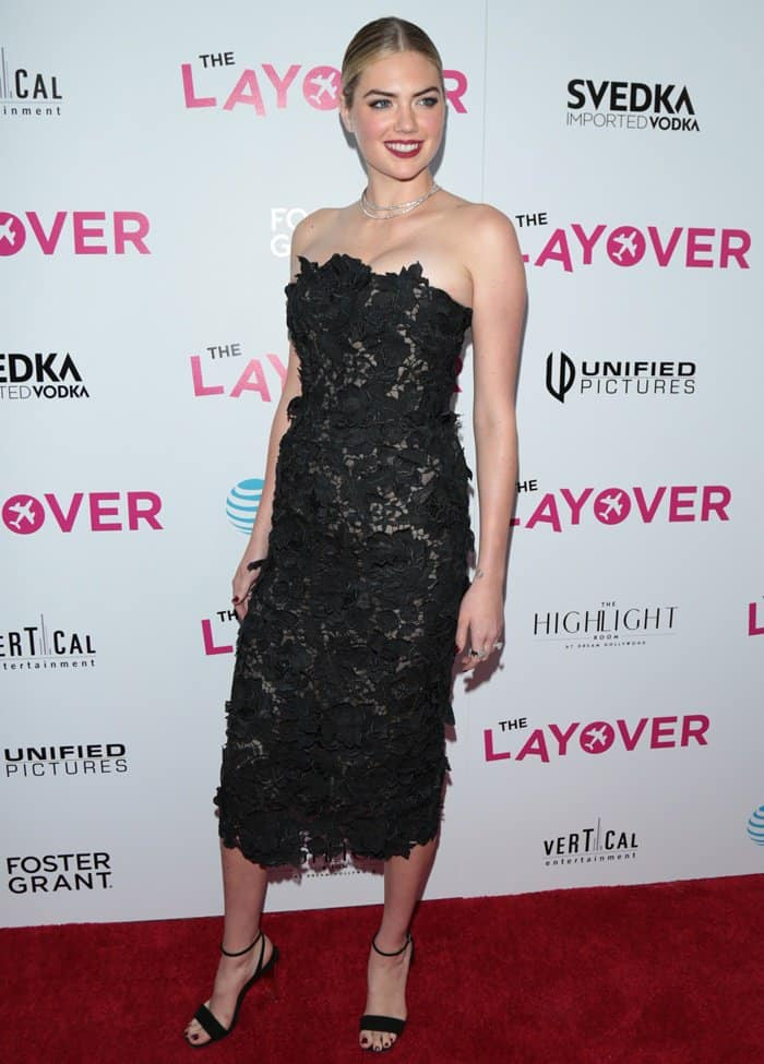 Kate Upton wearing a lace dress at 'The Layover' premiere in Hollywood.