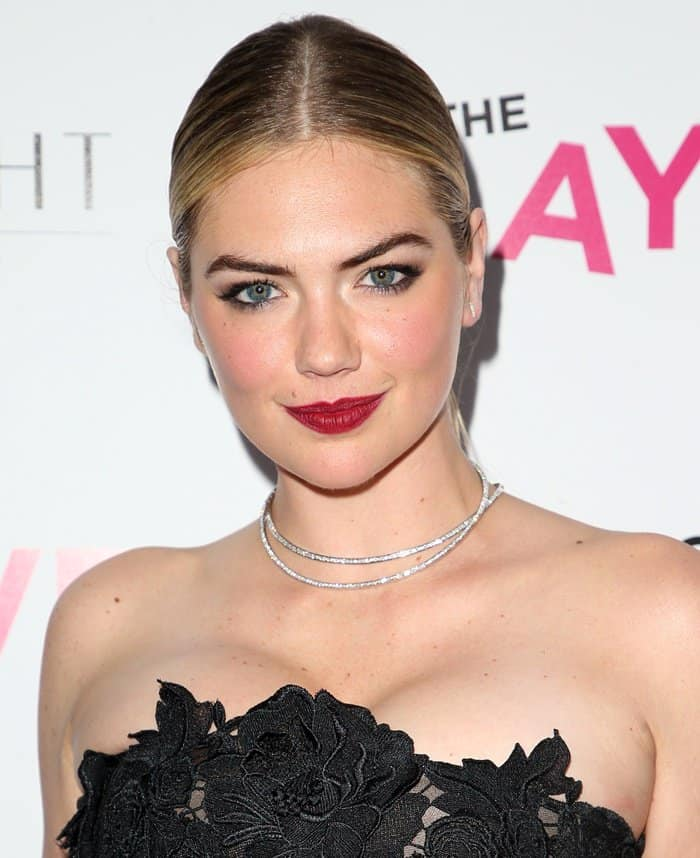 Kate Upton wearing a sparkling choker necklace at the premiere of 'The Layover'.