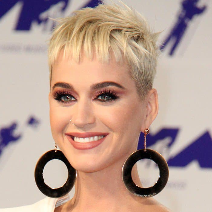 Katy Perry accessorized with enormous long hoop Armani earrings