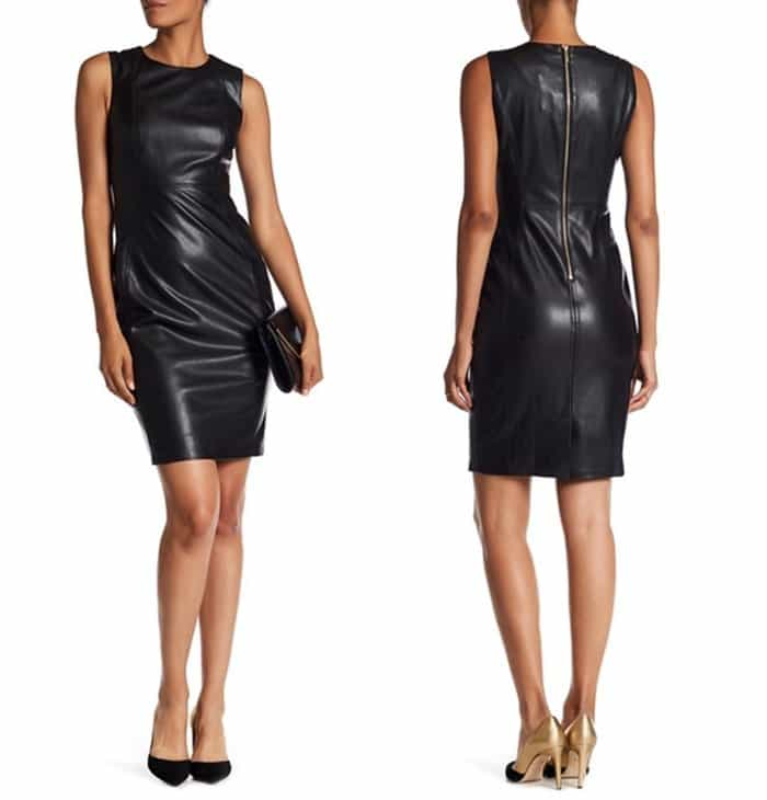 Modern American Designer Faux Leather Sheath Dress