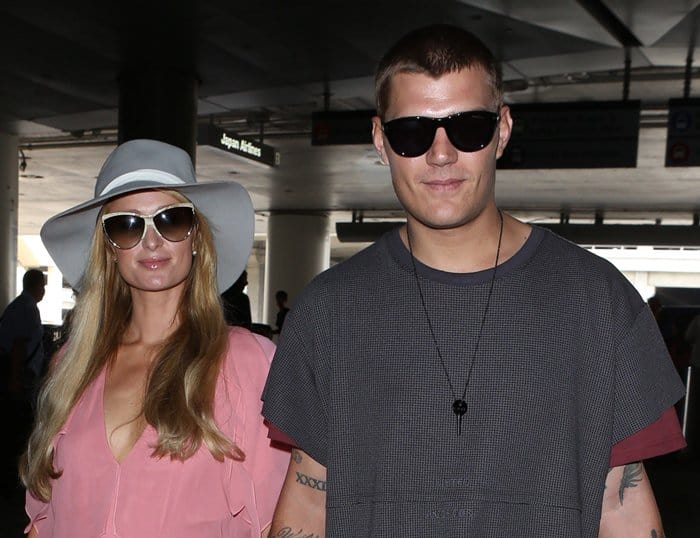 Paris Hilton was spotted at LAX with boyfriend Chris Zylka.