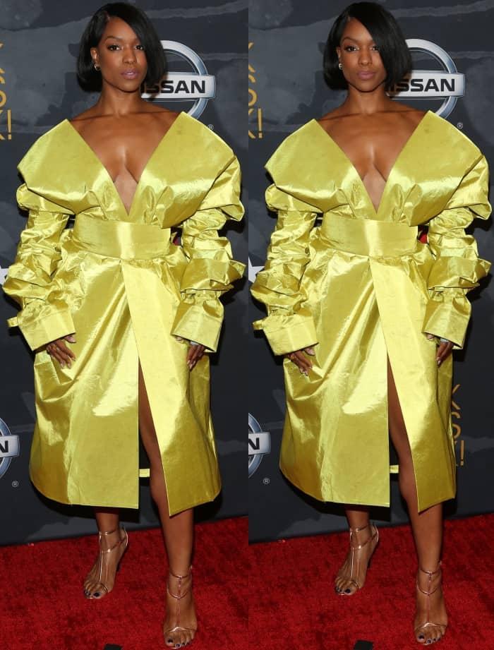 Michelle Mitchenor wearing a custom Carlos Antoine dress at the 2017 Black Girls Rock! Awards