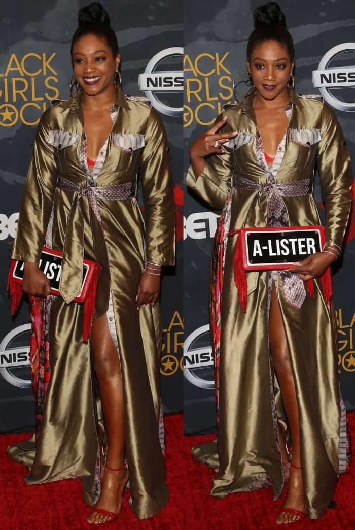 """Tiffany Haddish wearing the OTT """"Safari"""" dress at the 2017 Black Girls Rock! Awards"""