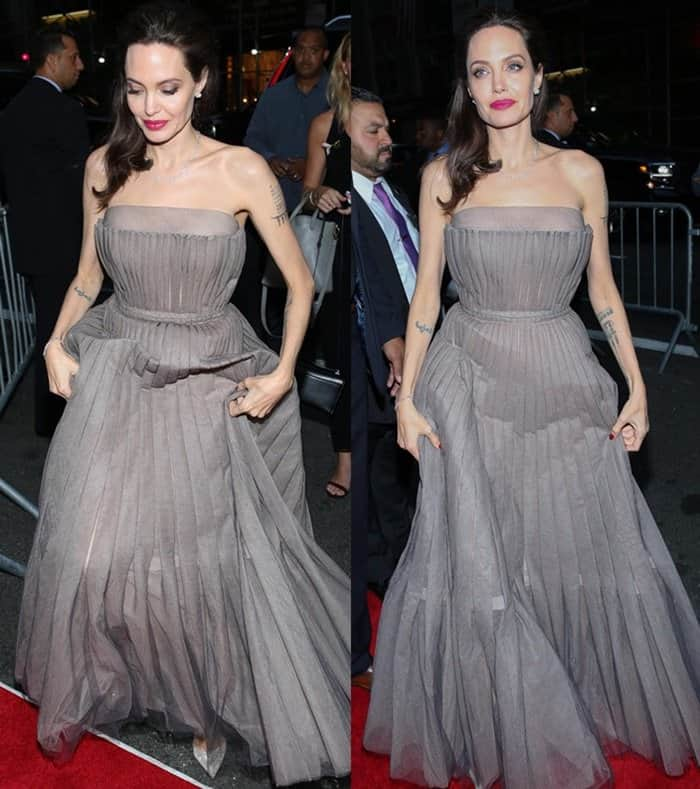 "Angeline Jolie at the New York premiere of ""First They Killed My Father""."
