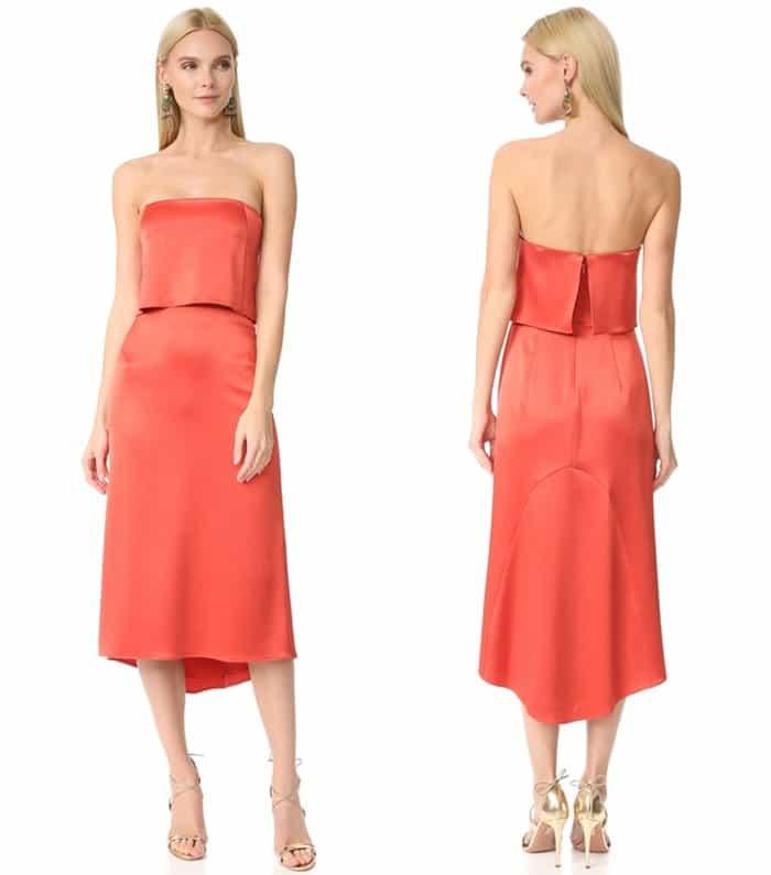 Halston Heritage Strapless Satin Dress