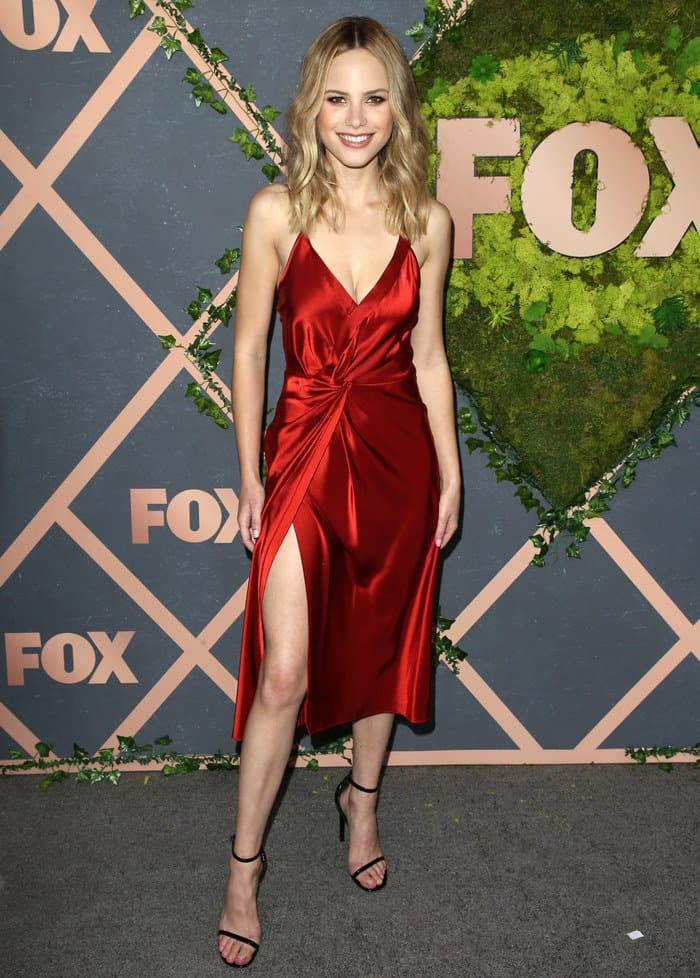 Halston donned a sexy red dress from Alexander Wang