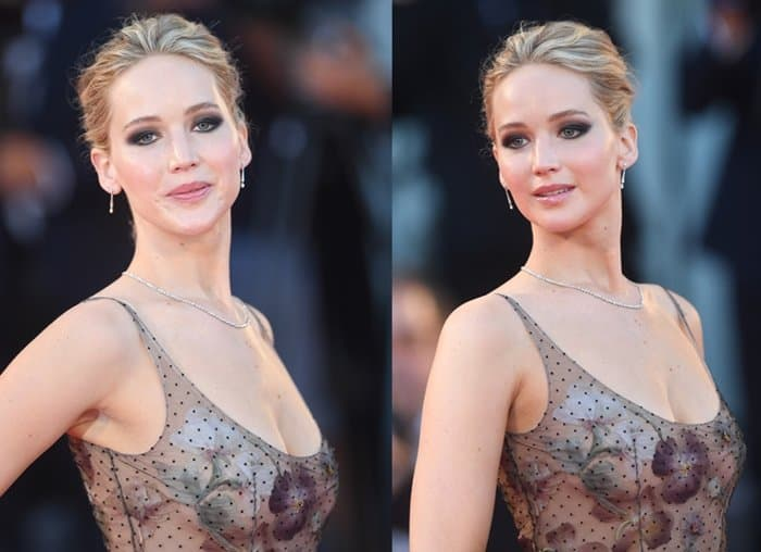 Keeping the look glam, Jennifer put her hair up in a chignon bun and went for smokey eye and nude lip makeup