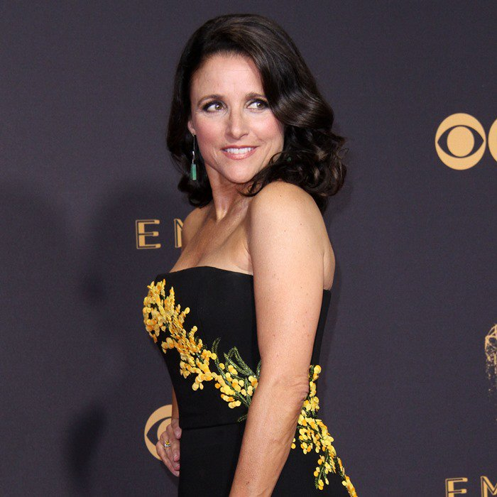 Julia Louis-Dreyfus wearing a custom Carolina Herrera Resort 2018 gown at the 2017 Emmy Awards held at the Microsoft Theater in Los Angeles on September 17, 2017