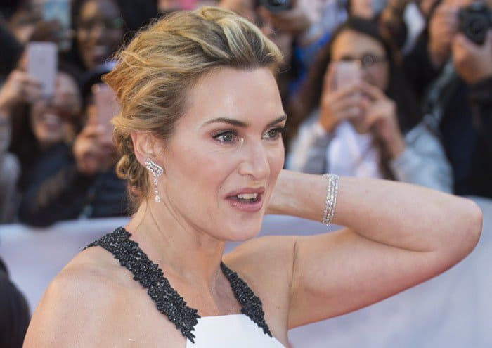 Kate Winslet turned heads in a white and black gown at the premiere of 'The Mountain Between Us' at the Roy Thomson Hall in Toronto, Canada, on September 10, 2017