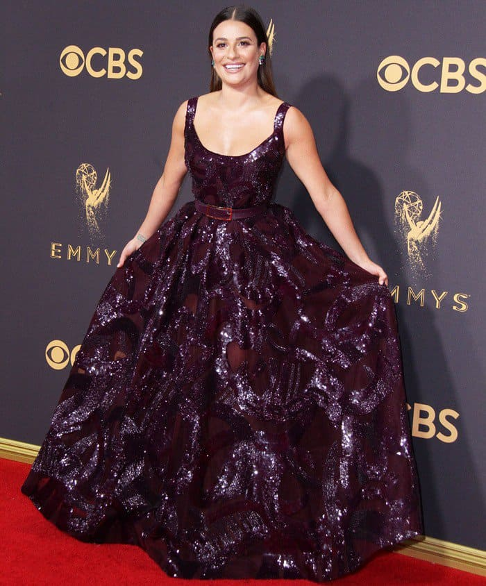Lea Michele wearing a sequined Elie Saab Fall 2017 gown at the 2017 Emmy Awards held at the Microsoft Theater in Los Angeles on September 17, 2017