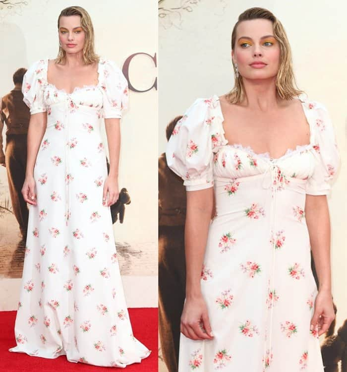 Margot wore a floor-length floral dress from Brock Collection