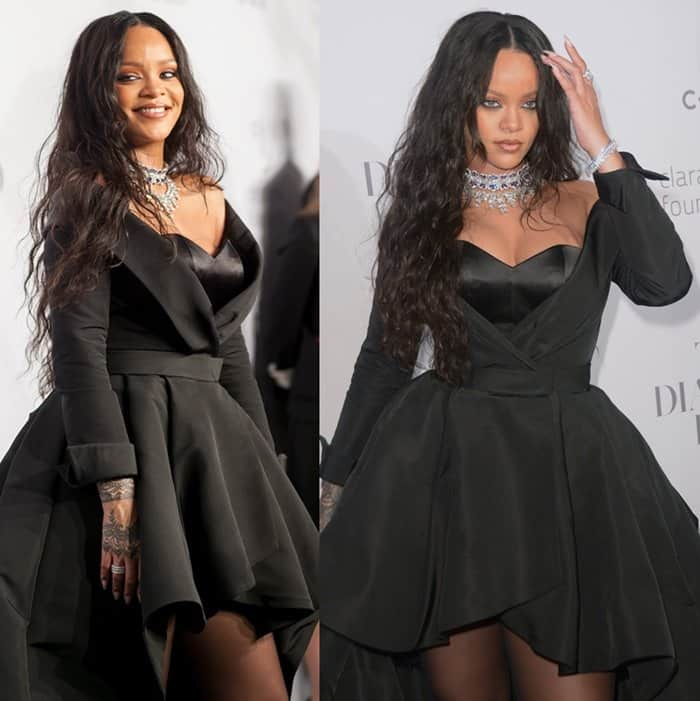 Rihanna wears a black gown with sparkling jewels for the glamorous event.