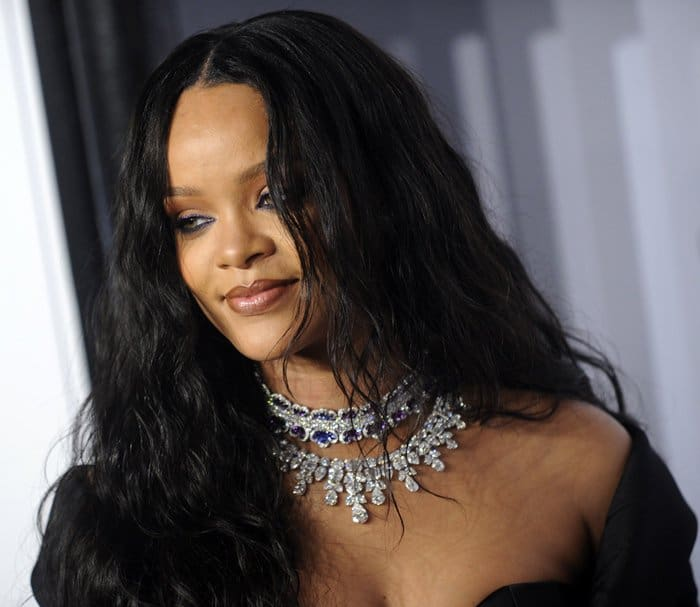 Rihanna wearing two diamond necklaces at The Diamond Ball.