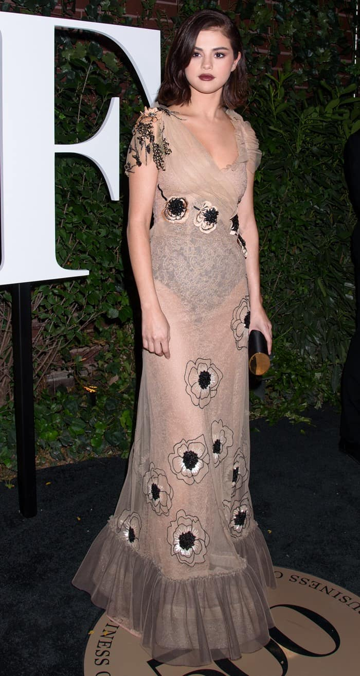 Selena Gomez wearing a tulle lace floral gown from the Rodarte Spring 2018 Collection at the #BoF500 Gala at the Public Hotel in New York City on September 9, 2017