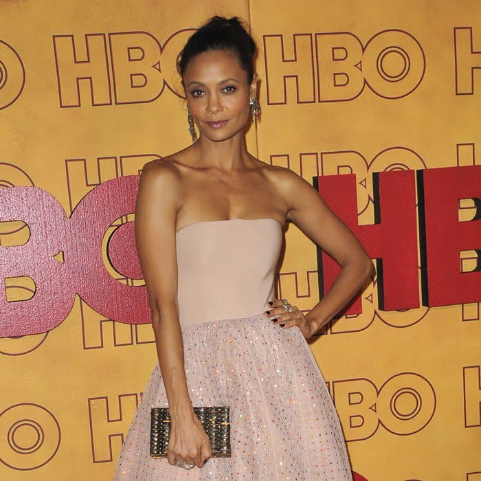 Thandie Newton was one of the evening's best dressed in a custom fairy tale ballgown
