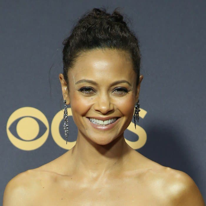 Thandie Newton in a custom Jason Wu gown at the 2017 Emmy Awards held at the Microsoft Theater in Los Angeles on September 17, 2017