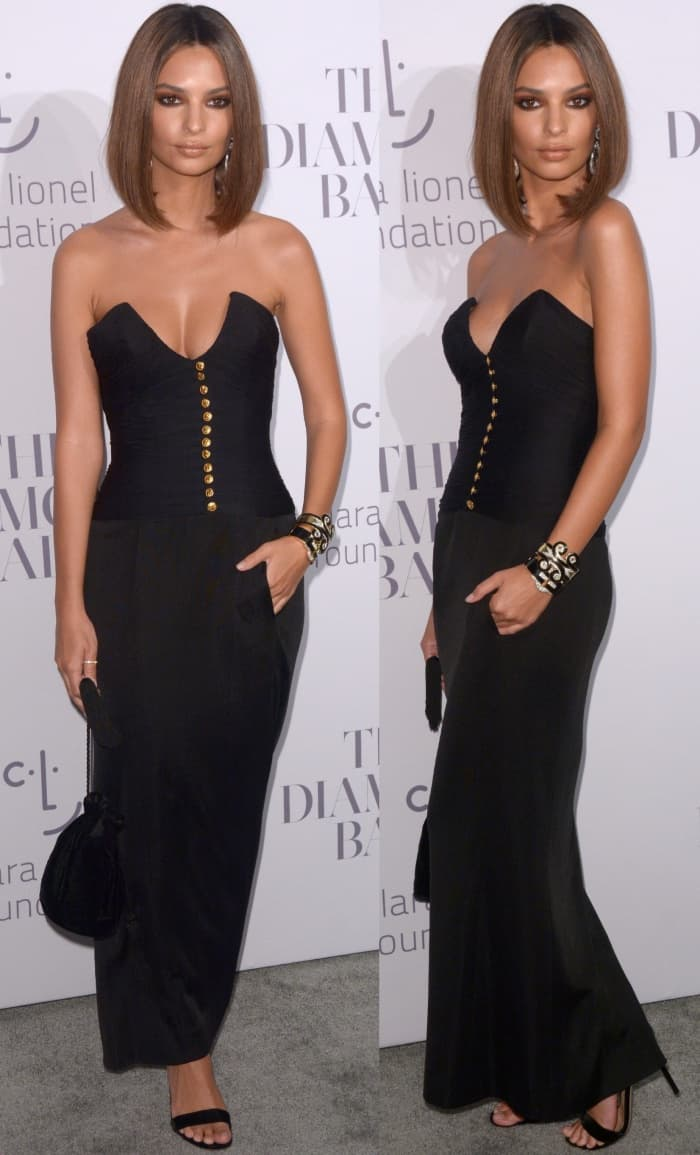 Emily Ratajkowski wearing a vintage black Chanel dress from Shrimpton Couture at Rihanna's 3rd Annual Diamond Ball