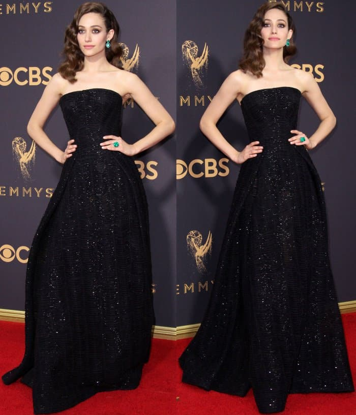 Emmy Rossum wearing a strapless black gown by Zac Posen at the 69th Emmy Awards