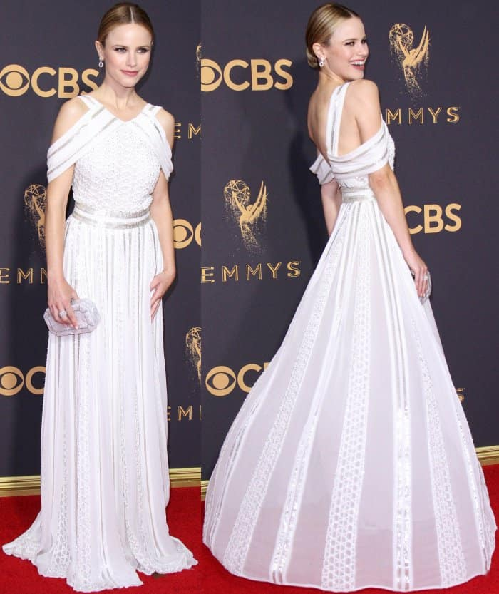 Halston Sage wearing a Zac Posen Resort 2018 gown at the 69th Emmy Awards
