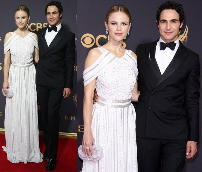 Halston Sage with designer Zac Posen at the 69th Emmy Awards