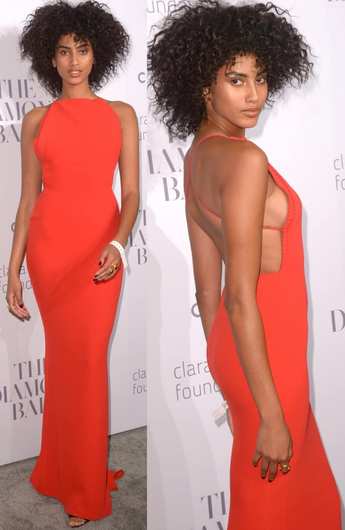 Imaan Hammam wearing a red Brandon Maxwell halter dress at Rihanna's 3rd Annual Diamond Ball