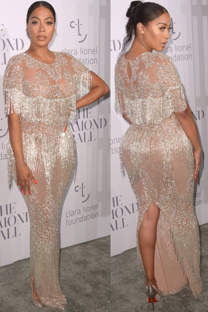 La La Anthony wearing a Yousef Ali-Jasmi gown at Rihanna's 3rd Annual Diamond Ball